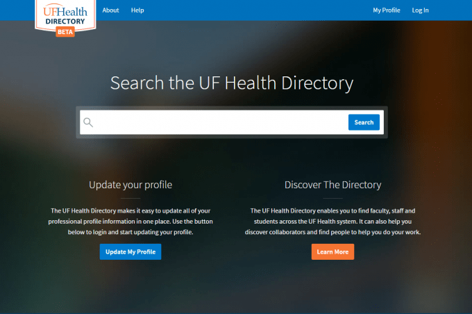 Screenshot of UF Health Web Directory front page search field